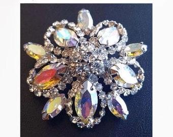 "Weiss Rhinestone Brooch Aurora Borealis 3 Tiered Holidays Silver Metal 1 3/4"" Vintage"