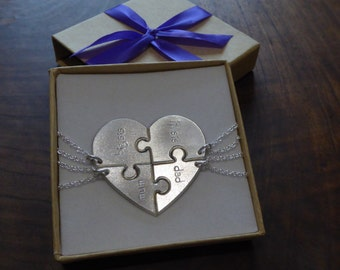 Four Piece Heart Puzzle for the Family
