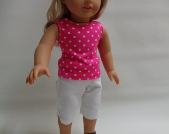 18 inch American Girl Doll Clothes - Pink Polka Dot Tank Top and White Capri Pants