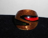 Red and Green Two Tone Wrap Design Glass Ring
