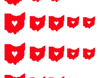 I Love Ohio // Home // Heart // Heart of it All // Nail Decals Transfer Nail Stickers