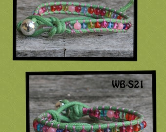 WB-S21 single beaded wrap bracelet - waxed cotton cord with multi colored glass beads