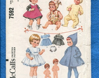 Vintage 1960's McCalls 7592 Tiny Tears Toddler Doll Wardrobe Pattern UNCUT