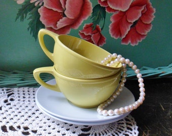 Two Yellow Cups with White Saucers, Yellow GHSware, Melamine Plastic Drinkware
