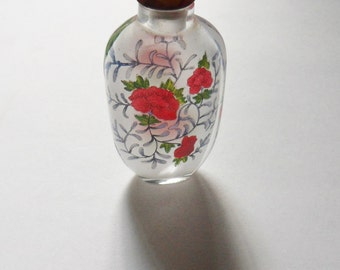 Inside Painted Glass Snuff Bottle, Reverse Painted Snuff Bottle with Red Poppies and Agate Lid