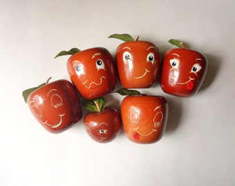 Hand Carved Apples with Faces, 6 Larry Stout Apple Carvings, Wooden Apple Family