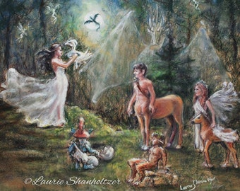 "Fantasy Magic, mythology ""Birth of a Dragon"" Centaur Faun Faeries pegasus, Laurie Shanholtzer Original pastel painting 18x20"