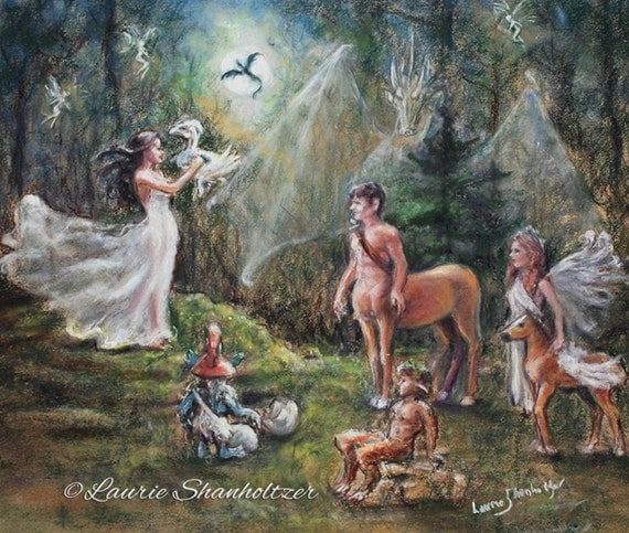 "Fantasy Magic, mythology - ORIGINAL pastel painting - ""Birth of a Dragon"" Centaur Faun Faeries pegasus, Laurie Shanholtzer 18x20"
