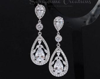 Wedding Earrings Teardrop Cubic Zirconia Wedding Jewelry Statement Wedding Earrings Clear Crystal Diamond Look Statement Valerie K145B