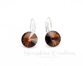 Smoked Topaz Earrings Swarovski Rivoli Crystal Brown Bronze Earrings Sparkly Bridal Bridesmaid Gift Bridal Party Bridesmaid Jewelry K011