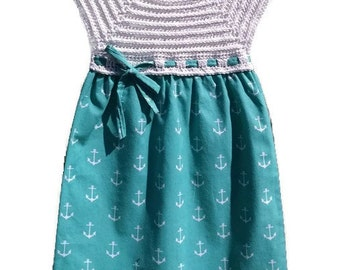 Spring Dress, Easter Dress, Summer Dress, Crochet Toddler Dresses, Aqua Anchor Dress