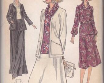 70s Cowl Neck Blouse, Jacket & Skirt Pattern Vogue 9937 Size 18 Uncut