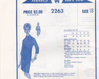 1960s Designer Afternoon Dress Pattern Modes Royale 2263 Size 18 Unused