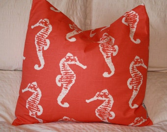 "20"" x 20"" Square Pillow Cover - Coral Seahorses Print, Cushion Cover, Throw Pillow, Premier Prints, Baby, Nursery, Home Decor"