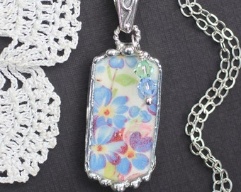 Necklace, Broken China Jewelry, Broken China Necklace, Dog Tag, Blue Floral, Sterling Silver, Soldered Jewelry