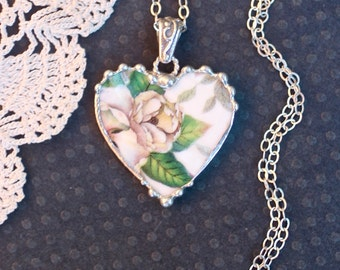 Necklace, Broken China Jewelry, Broken China Necklace, Heart Pendant, White Floral Chintz, Sterling Silver