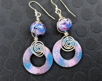 Enamel Earrings, Handmade Lampwork Beads, Pink Purple and Blue, Sterling Silver