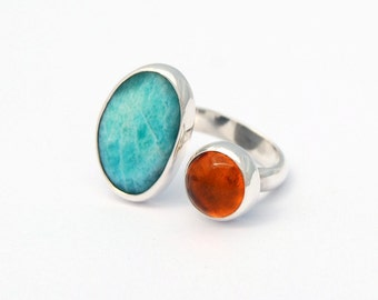 Open ring sterling silver amazonite amber cabochon open 2 stone ring multistone ring