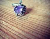 Purple Gem Stone Ring, Sterling Silver ring, Bohemian style ring, Boho jewelry, Purple & white gems, Gift for her, Original jewelry gift