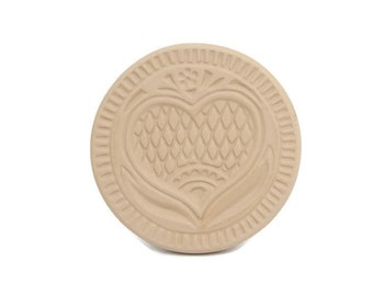 Vintage Brown Bag Cookie Stamp Clay Shortbread Mold Folk Art Scandinavian Heart Design Cookie Art Sugar Cookie