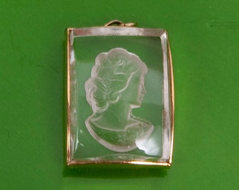 Vintage Laser Crystal Pendant Victorian Lady Cut Glass Intaglio Cabochon West Germany Laser Etching
