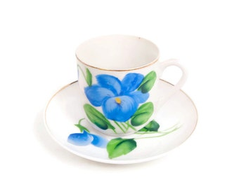Vintage Murray Kreiss Demitasse Teacup Saucer Hand Painted Blue Floral M K Design Registered Japan Tea Cup Set