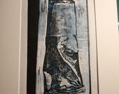 A tube of printmaker's ink. Observational woodcut using 3 plates