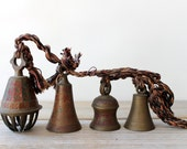 Etched brass vintage bell set / boho home decor / gypsy tribal eclectic home decor / collectible bell set / Indian cow bells / bohemian home