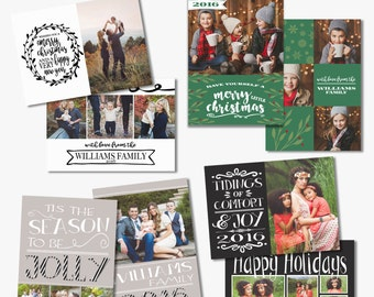 Christmas Card PHOTOSHOP TEMPLATE - Holiday Script Collection 4 Pack