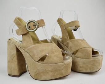 90s Does 70s Beige Faux Seude Chunky Ankle Strap Platform Sandals UK 4 / EU 37 / US 6.5