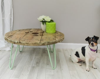 Upcycled cable reel coffee table - reclaimed industrial wood table on steel hairpin legs