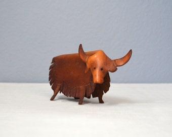 Vintage Leather Bull Figurine Deru Style