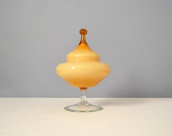 Vintage Empoli Cased Butterscotch Glass Footed Circus Tent Apothecary Candy Dish