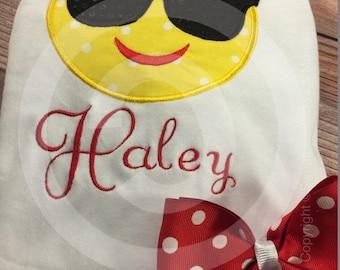 Girls Emoji Shirt;Sunglasses Emoji;Personalized Shirt;Embroidered Shirt;Boys Emoji Shirt;Boys Shirt;Girls Shirt;School Shirt;Birthday Shirt