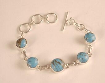 Sterling Silver 925 Turquoise round Link Bracelet Bracelet