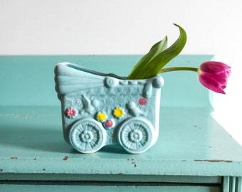 Vintage CC ceramic blue baby carriage planter, vintage nursery room decor, vintage nursery room planter, vintage ceramic planter