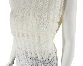 60s Sleeveless Sweater Top | Mod Knitted Blouse - med