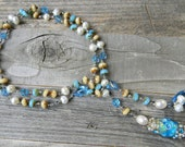 Tide Queen Rising - Long Hand Knotted Wrap Necklace - Boho Beach Lampwork & Gemstone Statement Necklace