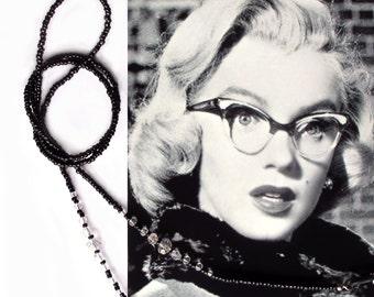 Eyewear holder, Black and crystal, Sunglasses beaded chain, Reading glasses, Eyeglass jewelry, Handmade