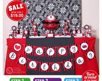 Red LadyBug Birthday Party Package Personalized FULL Collection Set  - PRINTABLE DIY - PS815CA1x