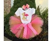 Flamingo tutu, flamingo birthday tutu, flamingo shirt, flamingo outfit, flamingo birthday, flamingo party, first birthday, flamingo bodysuit