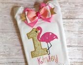 Flamingo shirt, flamingo birthday shirt, flamingo tutu, flamingo outfit, flamingo birthday, flamingo party, first birthday, flamingo bow UD