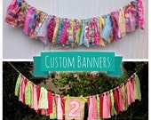 Fabric Banner, custom banner, fabric banner, scrap banner, birthday banner, embroidered banner, personalized banner, photo prop banner UD