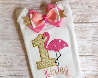 Flamingo shirt, flamingo birthday shirt, flamingo tutu, flamingo outfit, flamingo birthday, flamingo party, first birthday, flamingo bow UD