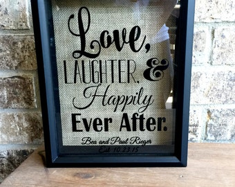11x14 wine cork holder cork holder love laughter and happily ever after wedding guest book wedding gift engagement gift