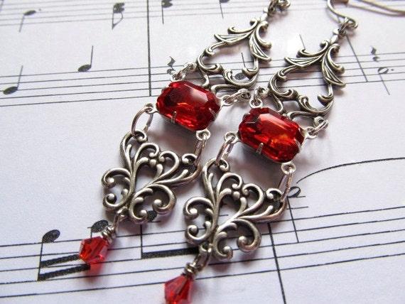 Art Nouveau Earrings Gothic Earrings Sterling Silver Earrings Art Deco Earrings Filigree Earrings Red Earrings Fantasy Jewelry- Red Roses