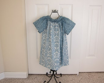 Peasant Dress - EASTER  DRESS - Spring Dress - Toddler   Girls - SIZE 6 - Blue and White Damask - Ready to ship - By Emma Jane Company
