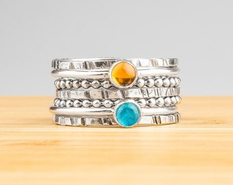Set of 7 Stacking Rings - Blue and Yellow gemstone stackable rings in Sterling Silver with Blue Apatite and Yellow Citrine - Stack rings