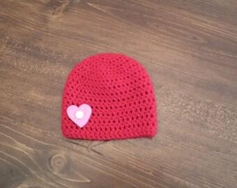 Baby Valentine's Day Beanie, Red Beanie, Photography Prop