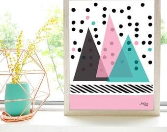 Abstract Mountains Art Print - Wall Art - Polka Dots - Modern Poster